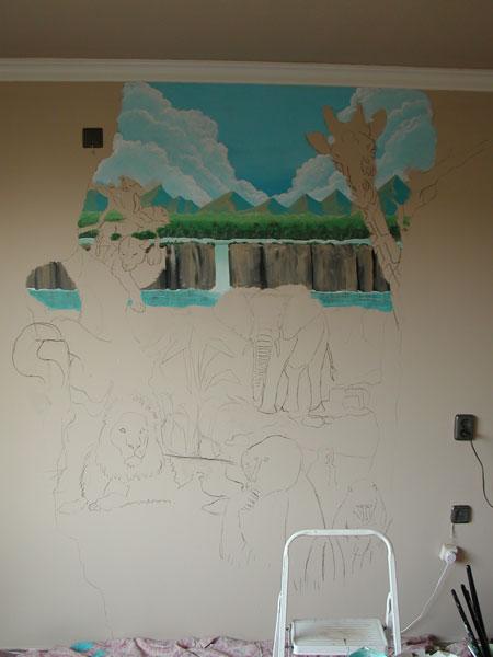 Jungle kamer - Muurschildering volwassen kamer ...