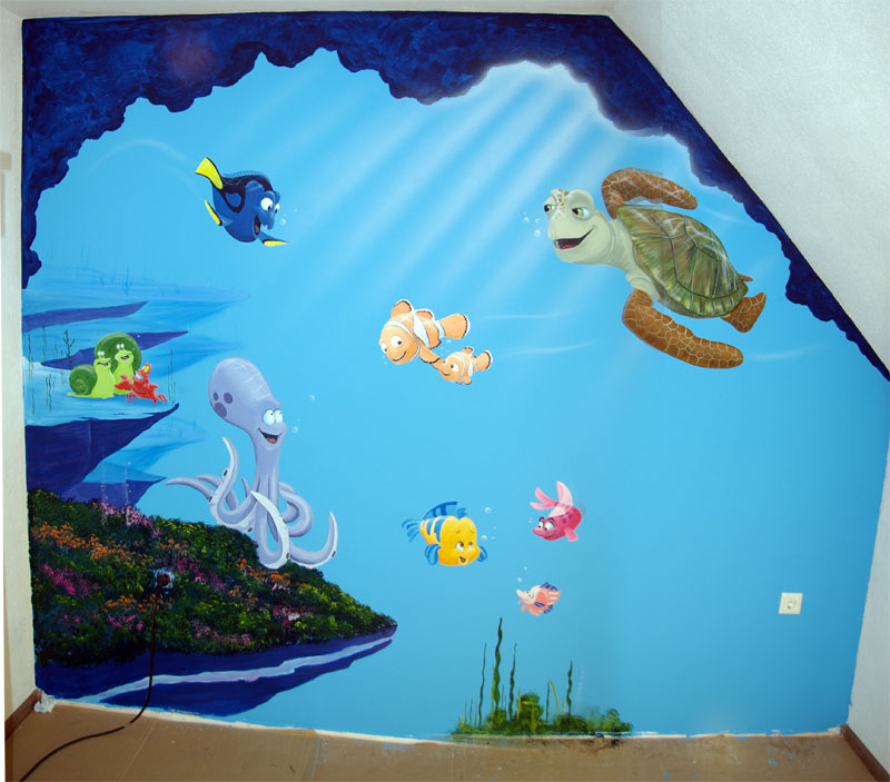 Muurschilderingen finding nemo for Kleine kamer met water m