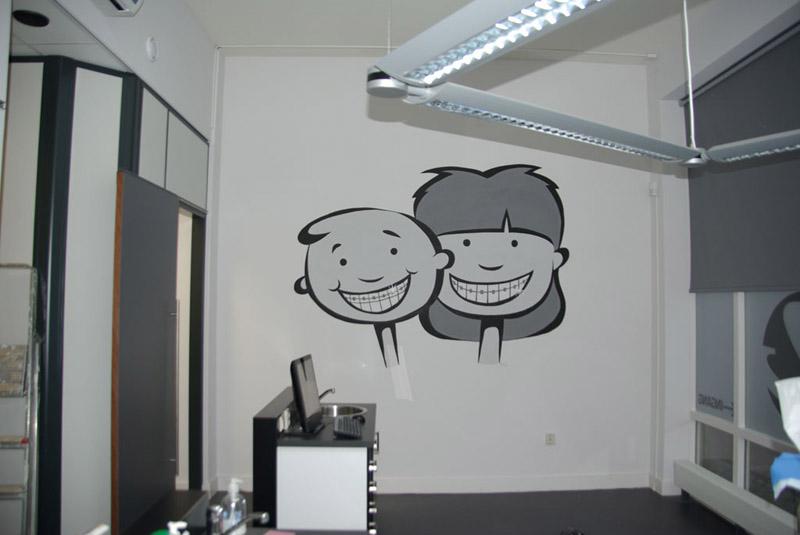 Muurschildering tandartspraktijk - Grijs muurschildering ...